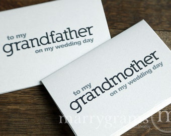 Wedding Card to Your Grandparents - Grandparent of the Bride or Groom Cards, Grandmother, Grandfather On My Wedding Day Thank You