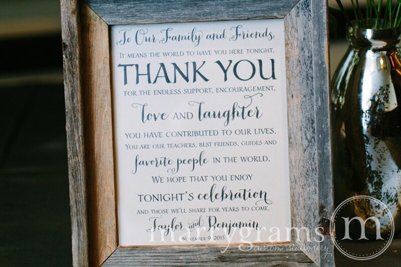 Wedding Gift Table Thank You Poem : Wedding Reception Thank You Sign To Our Family and Friends