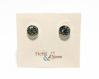Iridescent Sparkle Pavé Mini Earrings - Swarovski crystals, green, shimmer, .925 sterling silver, posts, studs, clay, bridesmaids, circle