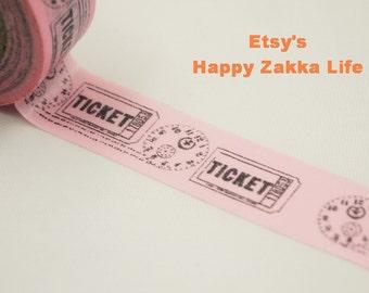 Japanese Washi Masking Tape - Pink Ticket - 11 Yards
