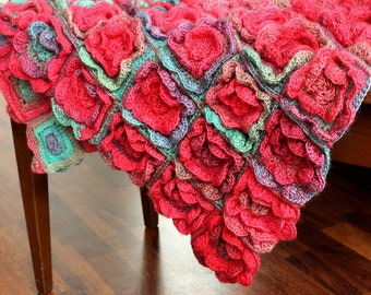 Free Crochet Pattern Rose Field : Items similar to Crochet Pattern Rose Field Baby Blanket ...
