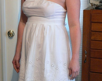 strapless white  cotton tube top dress  size large