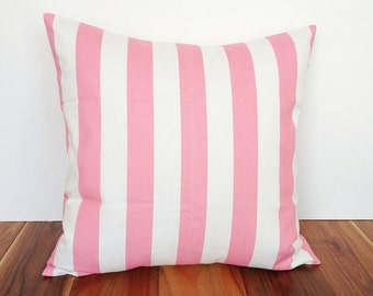 50% OFF CLEARANCE Pink Decorative Pillow Covers. 18x18 Baby Pink Stripes. Couch Pillow Covers. Baby Nursery