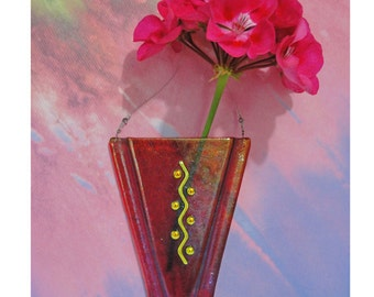 Dichroic Fused Glass Wall Vase Iridescent Red Home Decor Flowers Wall Pocket Vase Oil Diffuser Wedding Gifts Under 30 Dollars Gifts for Her