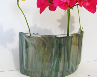 Fused Glass Table Vase Green Caramel Art Glass Home Decor Flowers Window Art Bud Vase Gifts Under 75 Anniversary Gifts For Her