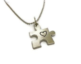 SALE: Puzzle Piece Necklace charm with heart, Autism awareness jewelry, puzzle necklace, autism jewewlry by Moonstone Creations