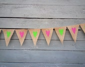 CLEARANCE SALE, Burlap wedding bunting banner with pink and green hearts, 10 feet long