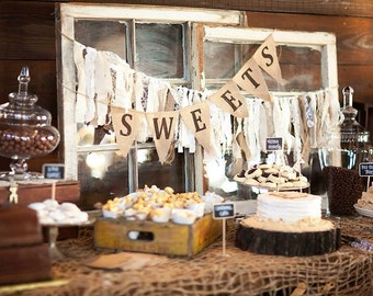 SWEETS burlap banner bunting, wedding garland