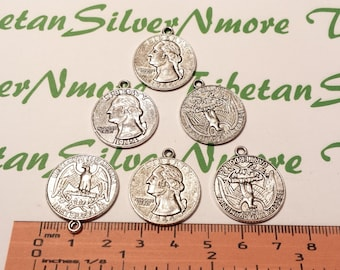6 pcs per pack 23mm 25 Cents coin Charms Antique Silver Lead free Pewter.