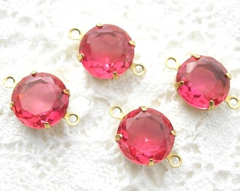 Set of Four Pink Rose 11mm Round Glass Jewels in Brass Connector Settings
