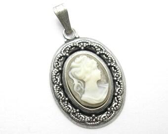 Antiqued Silver Ponytail Girl Pendant