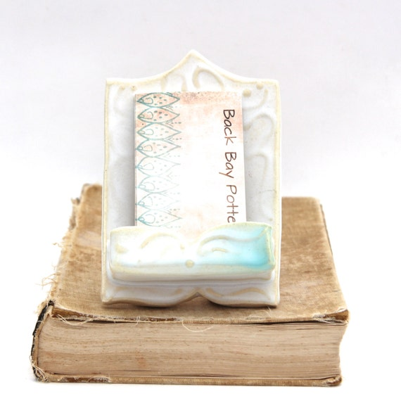 Business Card Holder - Shabby Chic Moroccan French Victorian Inspired - Creamy White OOAK - Ready to Ship