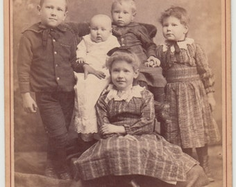 Vintage/Antique beautiful cabinet photo of five cute children/ siblings/ brother/sister