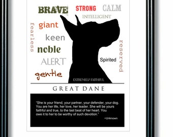 Great Dane Art, Great Dane Print, Subway Art, Quote, Modern Wall Decor, Black and White, Pet Lovers Gift