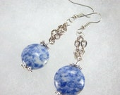 Sodalite Earrings, Blue Denim Color, Silver Chain, Sodalite Dangles, Silver Chain