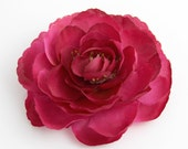 Magenta Ranunculus Flower Hair Clip and Pin - Dark Pink Rose Flower - Clip in Hair to Accent Ponytail Hairstyle or Pin to Jacket or Hat