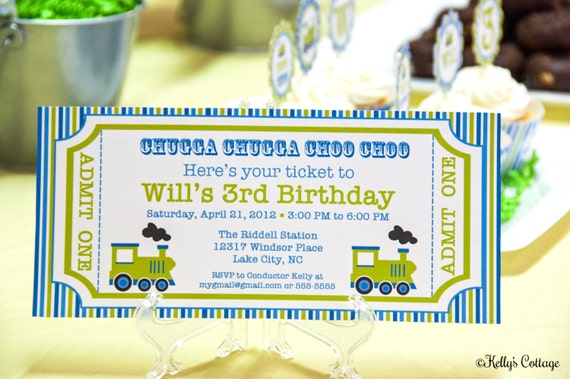 Vintage Train Ticket Invitation, Blue/Green- Custom, Printable Digital Birthday Invitation