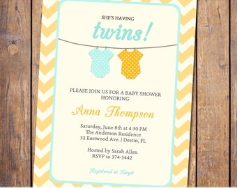 Twins Baby shower Invitation, gender neutral twins, turquoise and orange, digital, printable file (item24)