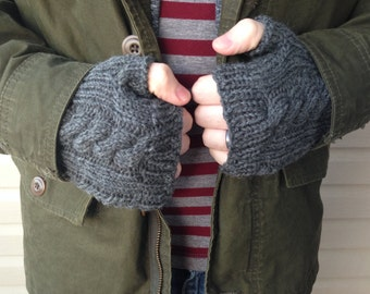 Mens Knit Gloves, Gifts for Him, Men's Fingerless Gloves, Fingerless Wool Gloves, Boyfriend Gift, Grey Heather || DOUBLE CABLE GLOVES