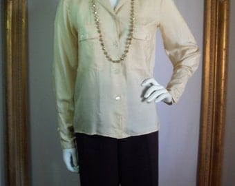 Vintage Blacky Cream Color Silk Long Sleeve Blouse - Size 5/6