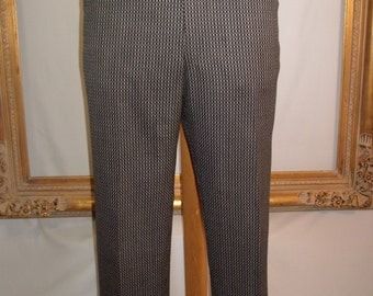Vintage 1970's Black/Grey/White Patterned Trousers - Size 39 x 28
