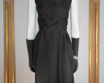 Vintage 1970's Black Evening Dress - Size 12