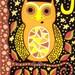 Kerri Ambrosino Mexican Folk Art PRINT Autumn Owl Harvest Moon Halloween Candy Corn Fall Stars