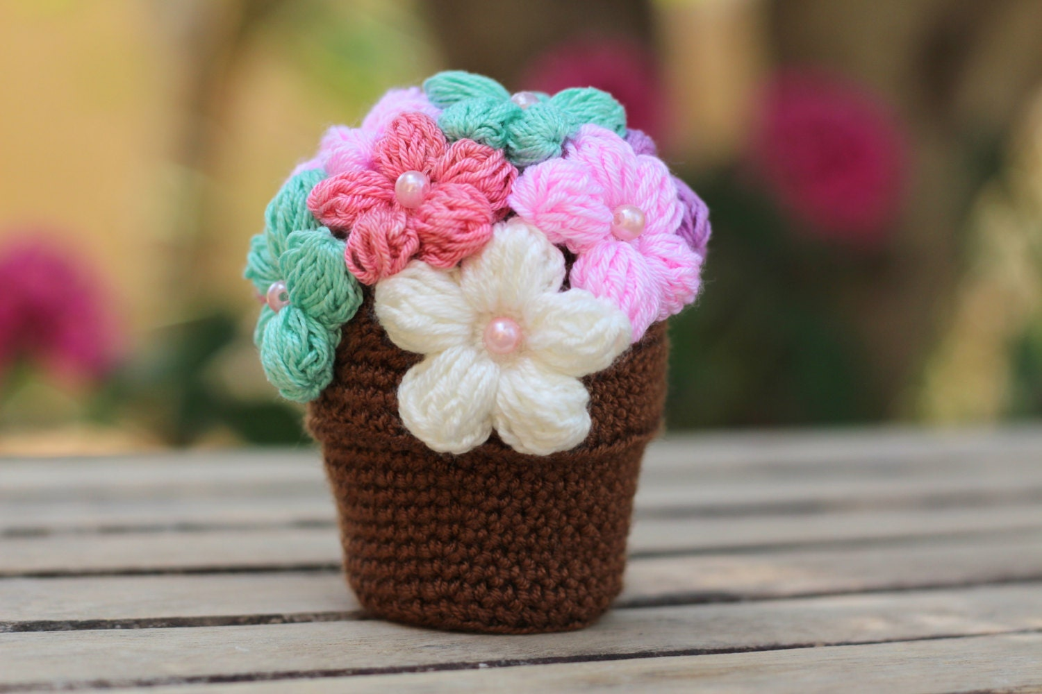 Crocheted Flower Pot PDF Tutorial Hand crochet Flower