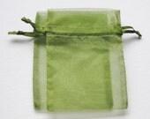 Set of 10 Moss Green Organza Bags (4x6)