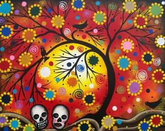 Needlepoint Canvas 14 or 18 count, By Lori Everett, Black Birds, Day Of The Dead, DOD, Hills, Folk Art, Sky's, Skulls, Mexican Art
