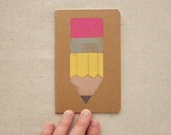 LINED JOURNAL - Pencil poscket-sized sketchbook Linocut
