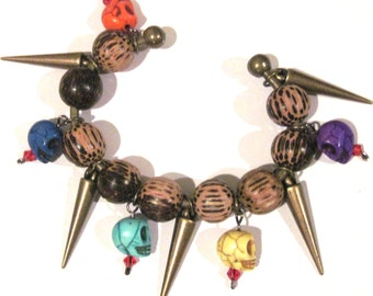 Halloween Skulls Spikes Bangle Bracelet Antique Brass Wood Stone