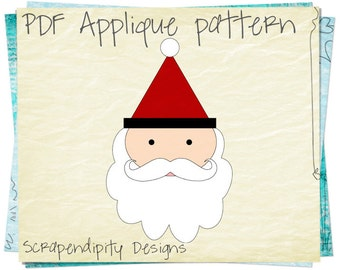 Santa Applique Pattern -  Christmas Applique Template PDF / Kids Christmas Quilt Pattern / Santa Applique Shirt / Boys Baby Clothes AP294-D