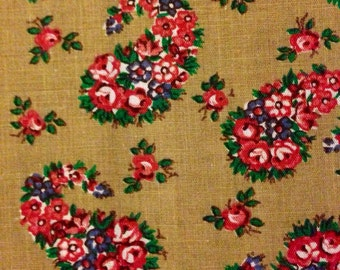 Vintage Fabric Floral Print beige and pink
