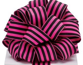 "5yds Grosgrain Ribbon 1-1/2"" Wired Edge Hot Pink & Black Stripe (FREE SHIPPING!)"