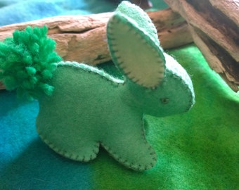 Bunny Rabbit  in Apple Green Felt