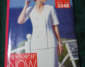Butterick See & Sew Now 5548 Misses Top and Skirt Size 6, 8. 10, 12, 14 bust 30 1/2, 31 1/2, 32 1/2, 34, 36 inches uncut sewing pattern