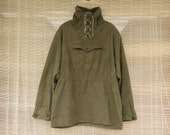 Vintage 1940's Army Green Canvas Hooded Pullover Anorak Parka Smock Size M - L