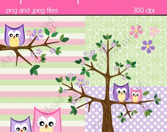 Instant Download - Baby owl and Mama owl with tree, Digital clip art owl, Digital Scrapbooking