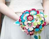 Hotch potch felt bouquet with vintage buttons and embroidered flowers