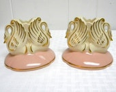 Swan candleholders pair of 2 in pink and gold midcentury pottery