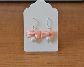 White Pearl and Peach Bow Earrings