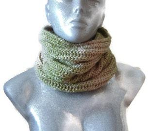Hand Knitted Green Beigie Scarf Warm Fashion Wool Acrylic Yarn