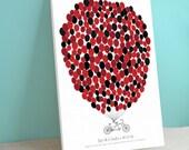 Wedding Guest Book Canvas - Tandem Bike - Bikewik - A Peachwik Personalized Stretched Canvas - 250 guest sign in -  Bike Guest book