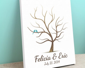 Fingerprint Guest Book Alternative - Whimwik Wedding Tree - Peachwik Wedding Canvas - Gallery Wrapped Canvas Wish Tree - Thumbprint Tree