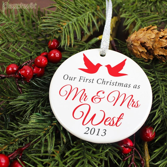 Just Married Christmas Ornament Personalized Newlywed Our