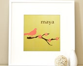 Modern Children's Paper Wall Art - Bird on a Branch or Personalized - 12 x 12 - Green and Pink or Custom Color