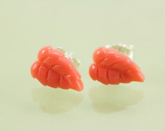 READY TO SHIP Coral Leaf Resin Post Earring with Sterling Silver Post and Ear Nut
