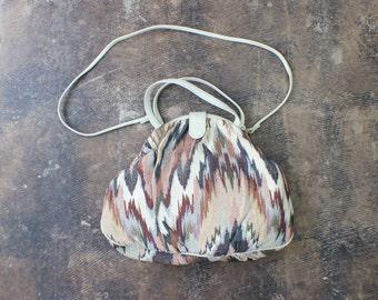 Vintage Tapestry Bag / Large Leather Trimmed Purse / Double Strap Handbag