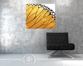 Yellow abstract painting + Swarovski®. Monarch butterfly. Mustard yellow. Butterfly wing. Golden painting. Original. Yellow butterfly art.
